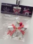 Aufhänger Weihnachten Deko Sterne aus Holz Rot / Weiß