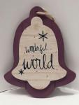 Aufhänger Weihnachten Deko Glocke aus Holz Wonderful World