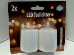 Weihnachten Glitzer 2x weiß LED Teelichter 14249