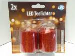 Weihnachten Glitzer 2x rot LED Teelichter 14250