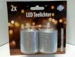 Weihnachten Glitzer 2x silber LED Teelichter 14248