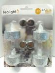Weihnachten Glitzer LED 4 silber Teelichter 14277