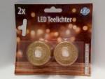 Weihnachten Glitzer 2 goldene LED Teelichter 13805