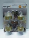 Weihnachten Glitzer LED 4 goldene Teelichter 14019