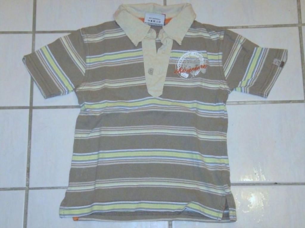 Topolino Schickes Polo Shirt mit Bedruckung beige gestreift Gr.110