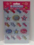 18 Sticker Puffy-Sticker Aufkleber Pfeile Sterne Yes No WOW Nr.02